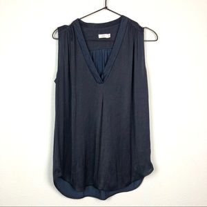 Vince Sleeveless Silk V Neck Blouse Navy Blue S